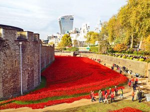 A sea of nearly 900,000 ceramic poppies around the Tower of London in 2014. Remembering the British and Allied soldiers who died in the Great War.